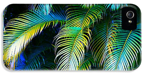 Steven Tyler iPhone 5 Case - Palm Leaves In Blue by Karon Melillo DeVega