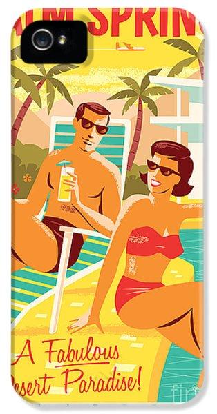 Desert iPhone 5 Case - Palm Springs Poster - Retro Travel by Jim Zahniser