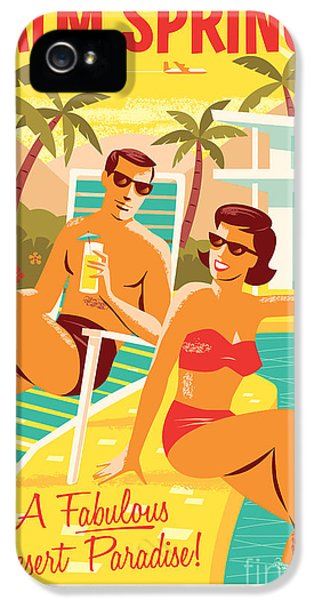 Palm Springs Retro Travel Poster IPhone 5 Case by Jim Zahniser
