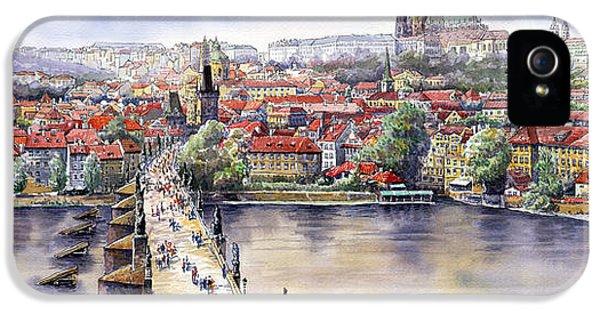 Panorama With Vltava River Charles Bridge And Prague Castle St Vit IPhone 5 Case