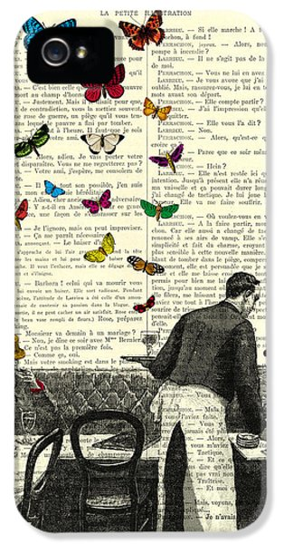 Paris iPhone 5 Case - Inside Of A French Bistro At Paris And Rainbow Butterflies by Madame Memento