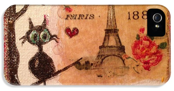 Paris Cat  IPhone 5 Case by Roxy Rich