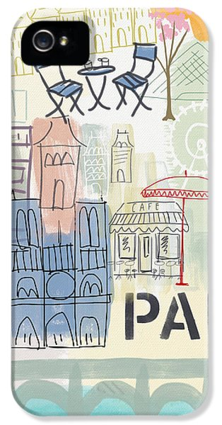 Paris Cityscape- Art By Linda Woods IPhone 5 Case by Linda Woods