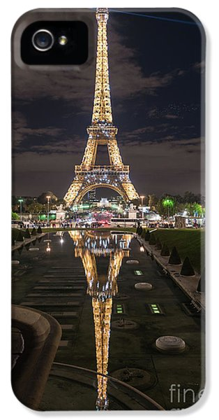 Paris Eiffel Tower Dazzling At Night IPhone 5 Case by Mike Reid