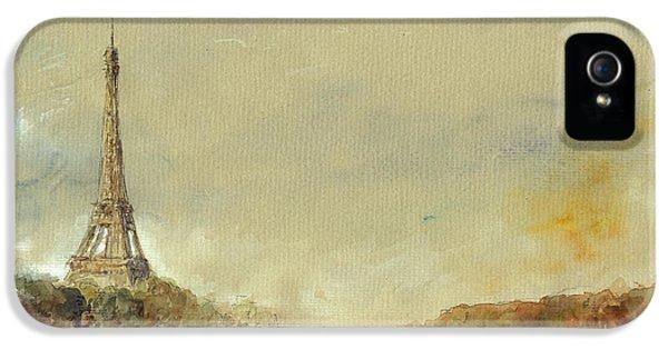 Paris Eiffel Tower Painting IPhone 5 Case by Juan  Bosco