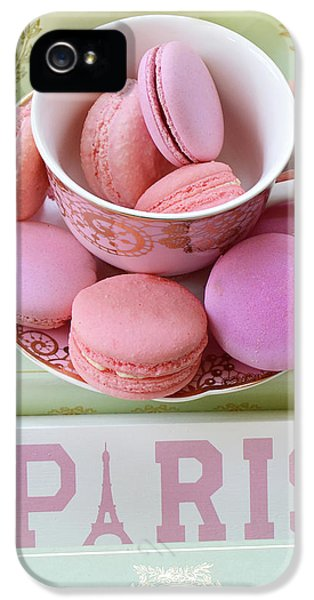 Paris Laduree Macarons - Pink Paris Macarons - Shabby Chic Laduree Paris Macarons Decor IPhone 5 Case by Kathy Fornal