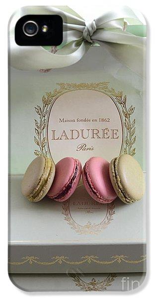 Paris Laduree Mint Box Of Macarons - Paris French Laduree Macarons  IPhone 5 Case by Kathy Fornal