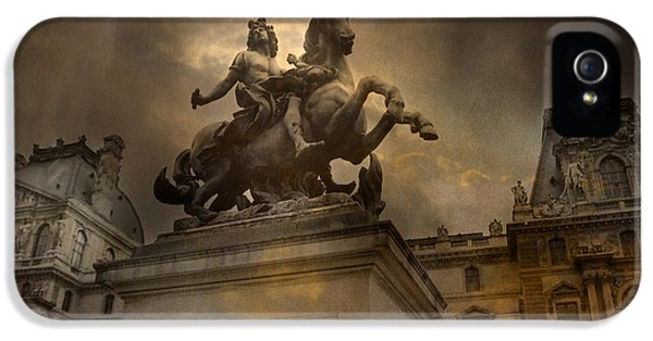Louvre iPhone 5 Case - Paris - Louvre Palace - Kings Of Paris - King Louis Xiv Monument Sculpture Statue by Kathy Fornal