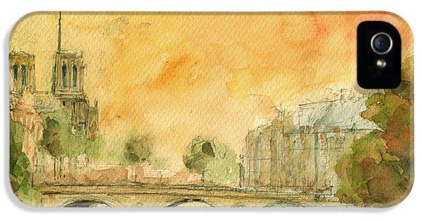 Paris Notre Dame IPhone 5 Case by Juan  Bosco