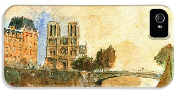 Paris Watercolor IPhone 5 Case by Juan  Bosco