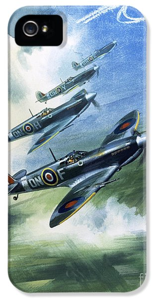Patrolling Flight Of 416 Squadron, Royal Canadian Air Force, Spitfire Mark Nines IPhone 5 Case by Wilf Hardy