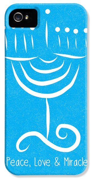 Peace Love And Miracles With Menorah IPhone 5 Case by Linda Woods