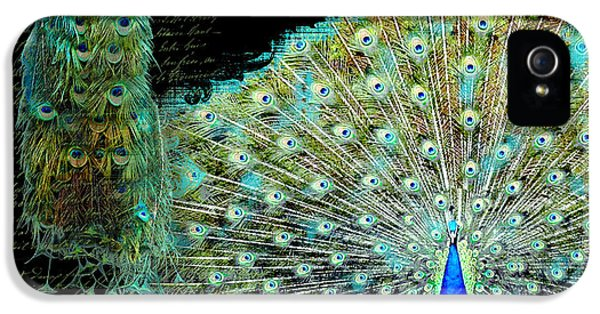 Peacock Pair On Tree Branch Tail Feathers IPhone 5 / 5s Case by Audrey Jeanne Roberts