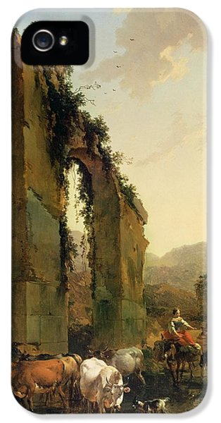 Peasants With Cattle By A Ruined Aqueduct IPhone 5 Case by Nicolaes Pietersz Berchem