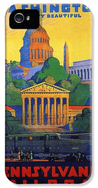 Washington Monument iPhone 5 Case - Pennsylvania Railroad, Washington, The City Beautiful - Retro Travel Poster - Vintage Poster by Studio Grafiikka