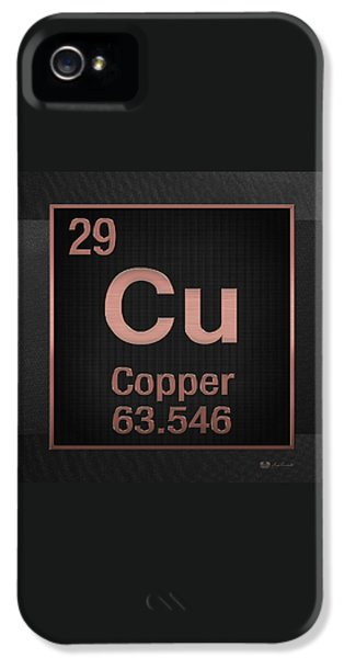 Periodic Table Of Elements - Copper - Cu - Copper On Black IPhone 5 Case by Serge Averbukh