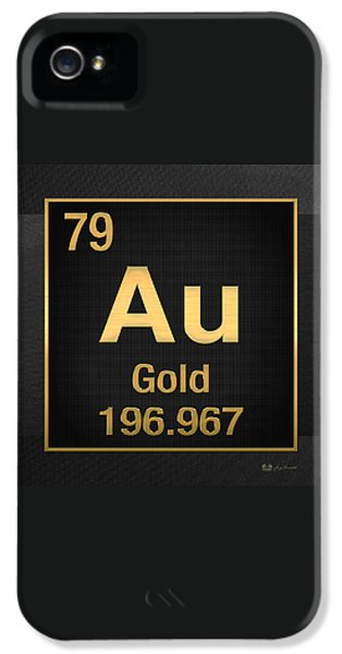 Periodic Table Of Elements - Gold - Au - Gold On Black IPhone 5 Case by Serge Averbukh