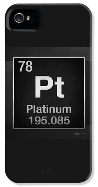 Periodic Table Of Elements - Platinum - Pt - Platinum On Black IPhone 5 Case by Serge Averbukh