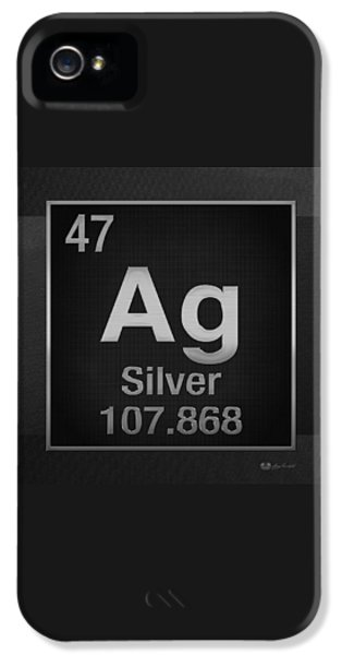Periodic Table Of Elements - Silver - Ag - Silver On Black IPhone 5 Case by Serge Averbukh