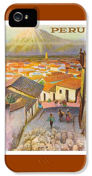 Llama iPhone 5 Case - Peru El Misti Volcano Vintage Travel Poster by Retro Graphics