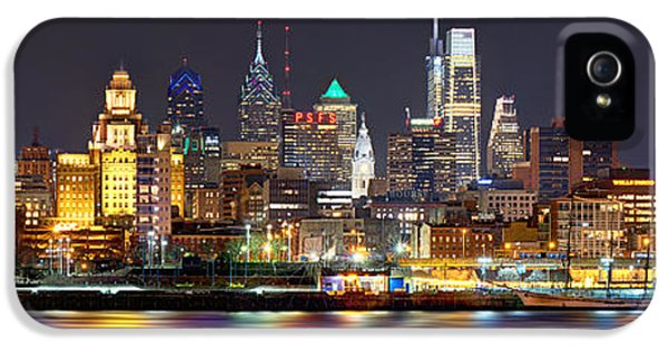 City Scenes iPhone 5 Case - Philadelphia Philly Skyline At Night From East Color by Jon Holiday