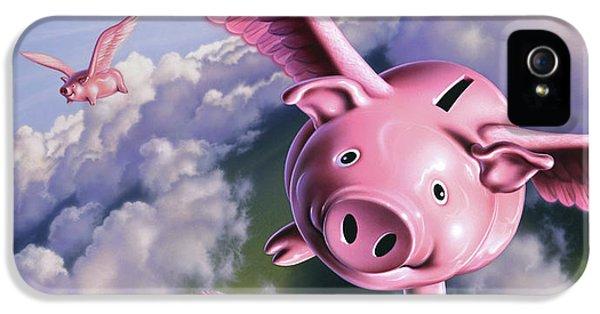 Pig iPhone 5 Case - Pigs Away by Jerry LoFaro