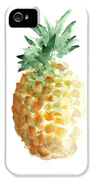 Pineapple Watercolor Minimalist Painting IPhone 5 Case by Joanna Szmerdt
