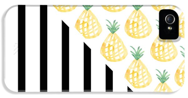 Pineapples And Stripes IPhone 5 Case by Linda Woods