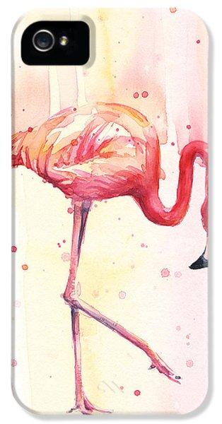 Flamingo iPhone 5 Case - Pink Flamingo Watercolor Rain by Olga Shvartsur