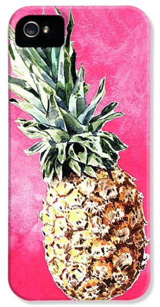 Pink Pineapple Bright Fruit Still Life Healthy Living Yoga Inspiration Tropical Island Kawaii Cute IPhone 5 Case by Laura Row