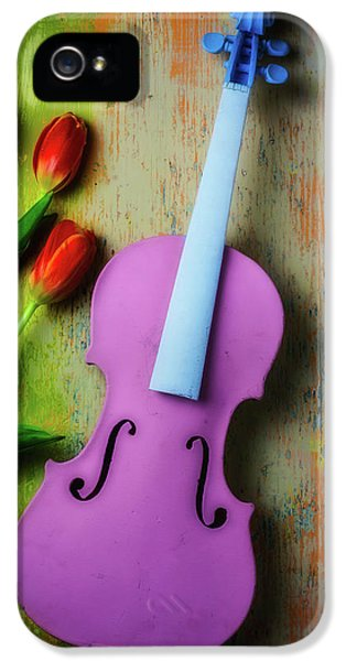 Pink Violin And Tulips IPhone 5 Case