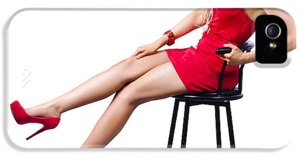 Pinup Girl Relaxing On A Bar Stool IPhone 5 Case