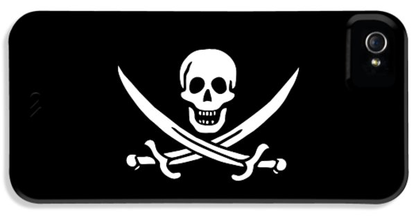 Pirate Flag Jolly Roger Of Calico Jack Rackham Tee IPhone 5 Case by Edward Fielding