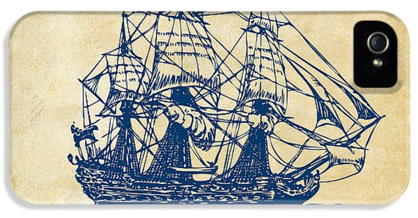 Pirate Ship Artwork - Vintage IPhone 5 Case by Nikki Marie Smith
