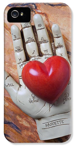 Plam Reader Hand Holding Red Stone Heart IPhone 5 Case