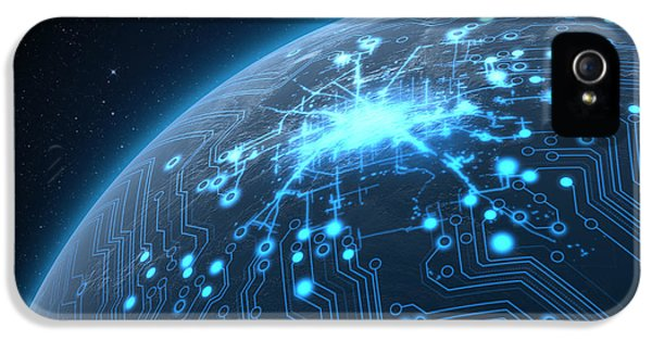 Planet With Illuminated Network IPhone 5 Case by Allan Swart