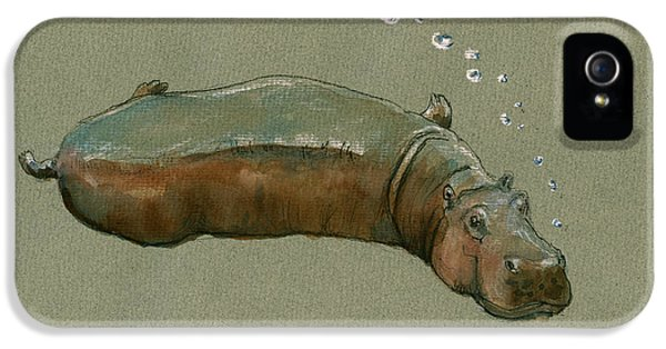 Playing Hippo IPhone 5 Case by Juan  Bosco