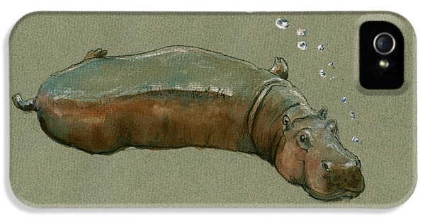Playing Hippo IPhone 5 / 5s Case by Juan  Bosco