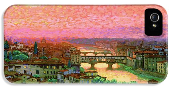 Town iPhone 5 Case - Ponte Vecchio Sunset Florence by Jane Small