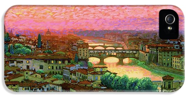 Impressionism iPhone 5 Case - Ponte Vecchio Sunset Florence by Jane Small