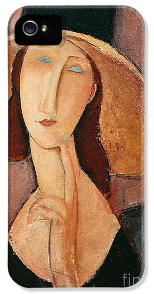 Portraits iPhone 5 Case - Portrait Of Jeanne Hebuterne In A Large Hat by Amedeo Modigliani