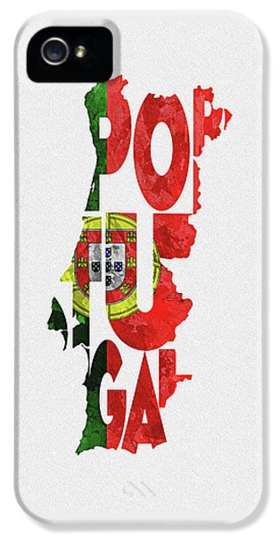 Portugal Typographic Map Flag IPhone 5 Case