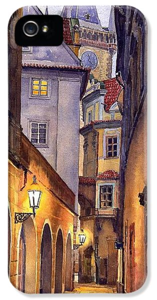 Watercolor iPhone 5 Cases - Prague Old Street  iPhone 5 Case by Yuriy  Shevchuk