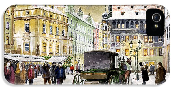 Town iPhone 5 Case - Prague Old Town Square Winter by Yuriy Shevchuk