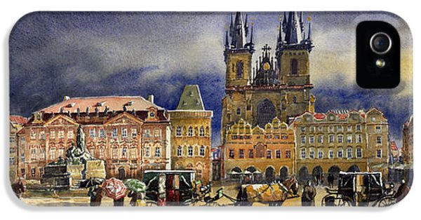 Watercolor iPhone 5 Cases - Prague Old Town Squere After rain iPhone 5 Case by Yuriy  Shevchuk