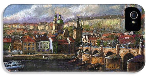 Prague Panorama Charles Bridge Prague Castle IPhone 5 Case by Yuriy  Shevchuk