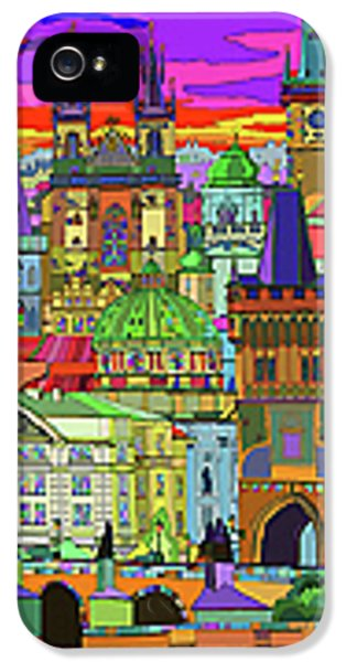 Town iPhone 5 Case - Prague Panorama Old Town by Yuriy Shevchuk