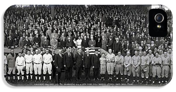 President Coolidge And The Washington A.l. And New York N.l. World's Series Baseball Teams IPhone 5 Case by Panoramic Images