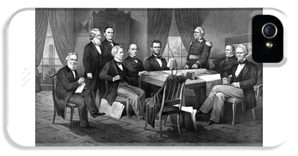 President Lincoln His Cabinet And General Scott IPhone 5 Case by War Is Hell Store