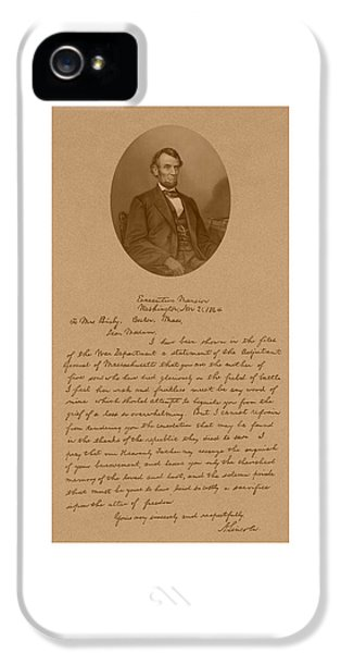 President Lincoln's Letter To Mrs. Bixby IPhone 5 Case by War Is Hell Store
